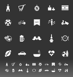 Friday and weekend icons on gray background vector