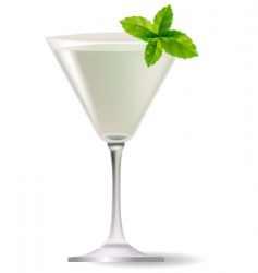 Cocktail with mint leaves vector