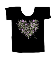 Black tshirt with floral print design vector