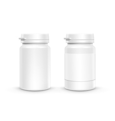 Plastic packaging bottle with cap for pills vector