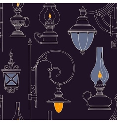 Vintage lamp seamless pattern vector