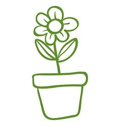 A green pot with a green flower vector