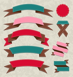 Set ribbons vintage labels geometric emblems vector