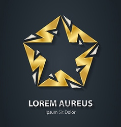 Silver and gold star logo made of lightnings award vector
