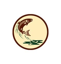 Atlantic salmon fish jumping water retro vector