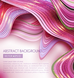Pink abstract background with waves vector