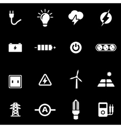 White electricity icon set vector