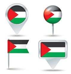 Map pins with flag of west bank vector