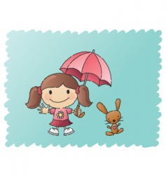 Scribbled umbrella girl vector