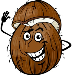 Funny coconut fruit cartoon vector
