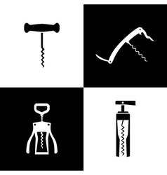 Set of black and white corkscrews vector