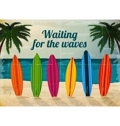 Holiday surfboards on the ocean beach vector