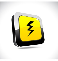 Warning 3d square button vector