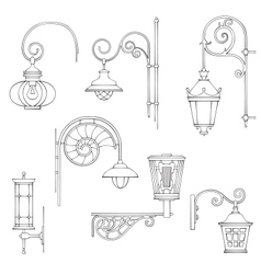 Retro and modern street lanterns vector
