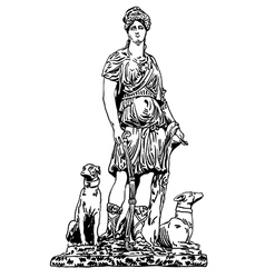 Ink drawing of old historical statue vector