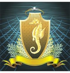 The seahorse shield vector