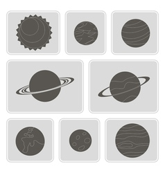 Icons with planets of the solar system vector