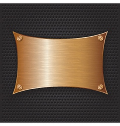 Bronze frame with screws on abstract metallic back vector