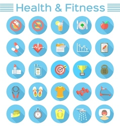 Modern flat fitness and wellness icons vector