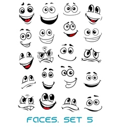 Cartoon faces with different expressions vector