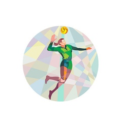 Volleyball player spiking ball jumping low polygon vector