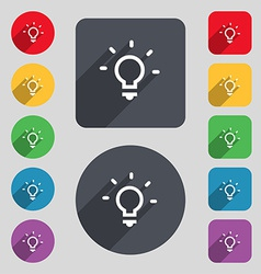 Light lamp idea icon sign a set of 12 colored vector