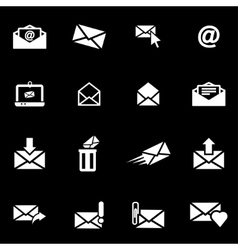 White email icon set vector