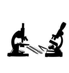 Two microscopes vector