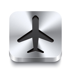 Square metal button perspektive - airplane icon vector