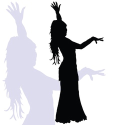 Flamenco dance woman silhouette vector