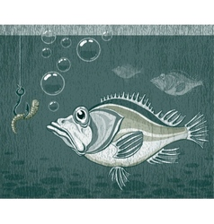 Fish and worm vector