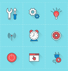 Technology icons icon set in flat design style for vector