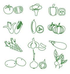 Set of black various vegetables outline icons vector