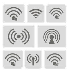 Monochrome icons with wifi symbols vector