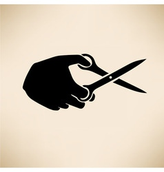 Hand with scissors vector