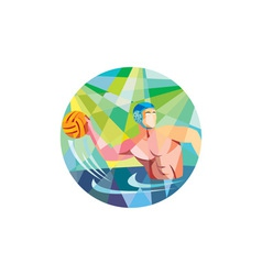Water polo player throw ball circle low polygon vector