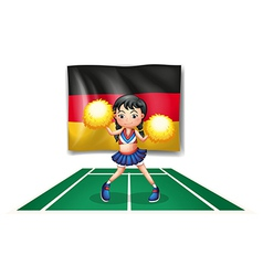 A cheerleader in front of the german flag vector