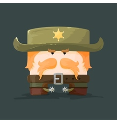 Wild west cartoon sheriff with mustaches and hat vector