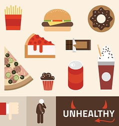 Various unhealthy food - pizza donut burger soda vector