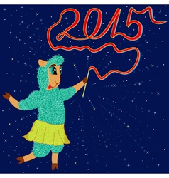 Sheep holds a twisted ribbon as 2015 vector