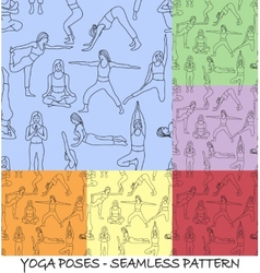 Yoga poses collection - background seamless vector
