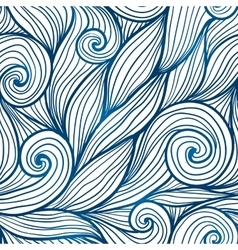 Blue doodle hair waves seamless pattern vector