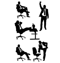 Silhouettes of business men posing vector