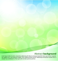 Abstract green and blue background with bokeh vector