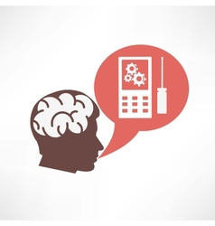 Brain in the head and cellphone icon vector