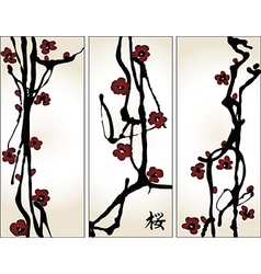 Set of cherry blossom banners vector