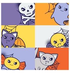 Halloween kawaii greeting cards with cute doodles vector