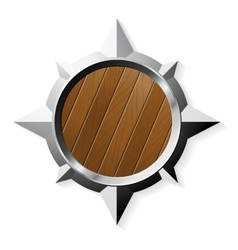 Shield from steel and wood in star shape isolated vector