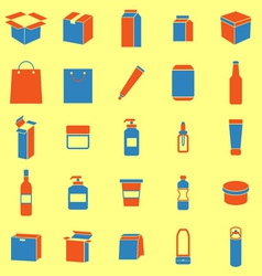 Packaging color icons on yellow background vector