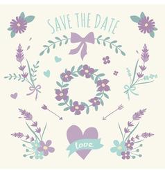 Floral design wedding engagement elements vector